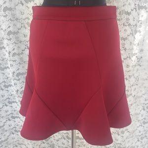 LINE & DOT A-LINE SKIRT BURGUNDY RED FLARED KNIT